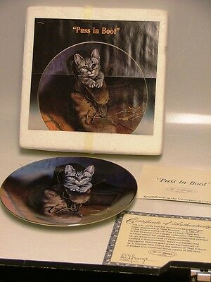 NICE W S GEORGE COLLECTIBLE PLATE  PUSS IN BOOT 2ND ISSUE VICTORIAN CAT CAPERS