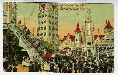 1910 Postcard showing the Scaler Ride at Luna Park Coney Island New York