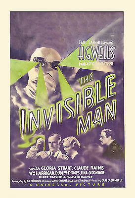 Universal Horror: * The Invisible Man  *  Claude Rains Movie Poster 1933