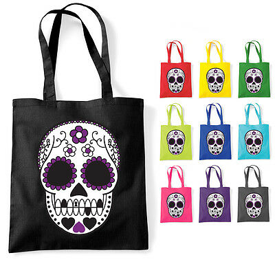 Sugar Skull Mexican Tattoo Cotton Tote Shoulder Bag