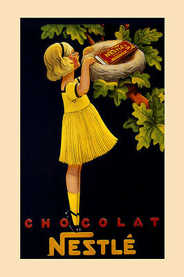 Chocolate Chocolat Nestle Candy Bird Girl Vintage Poster Reproduction FREE S/H