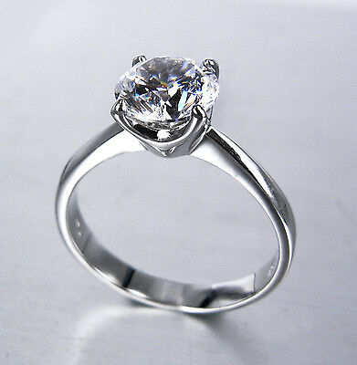 Unique 18K White Gold Plated Solitaire 2ct Simulated Diamond Ring size  6,7,8