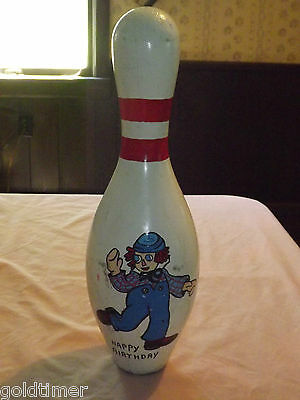 """Vintage  Hand Painted Happy Birthday 15"""" Wood Bowling Pin"""