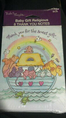 8 Tender Thoughts Noah's Ark Animals Thank You Cards Baby Shower Birthday Note