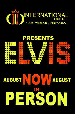 1960's Rock & Roll  Elvis Presley International Hotel Concert Banner Poster 1969