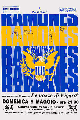1970's PUNK: Joey, Johnny & Dee Dee:  The Ramones at  Italy Concert Poster 1993
