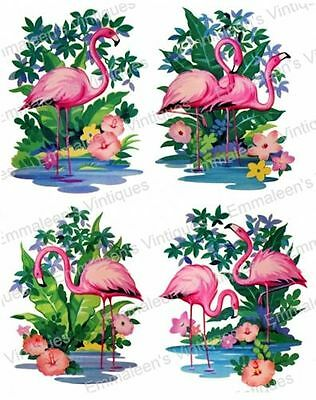 Vintage Shabby Bright Pink Flamingos Waterslide Decals ~ YOUR CHOICE