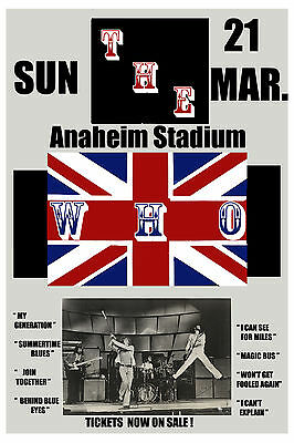 1970's British Rock:  The Who at  Anaheim Stadium Concert Poster 1975