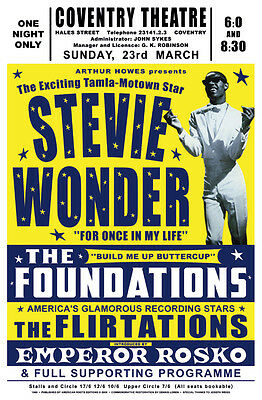 1960's Motown Soul: Stevie Wonder at the Coventry Theatre U.K.  Poster 1969