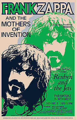 1970's OffBeat Rock: Frank Zappa at  Pacific Northwest Concert Poster 1971