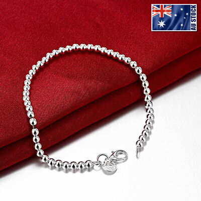 925 Sterling Silver Filled  Women's 4MM Classic Ball Beads Charm Chain Bracelet