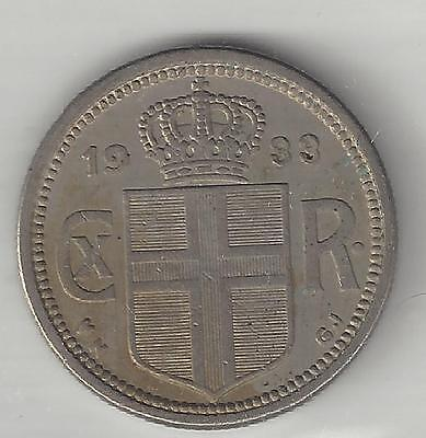 Iceland,  1933,  25 Aurar,  Copper Nickel,  Extra Fine,  Km#2.1