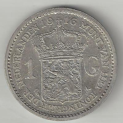 NETHERLANDS,  1916,  1 GULDEN,  SILVER,  ALOMST UNCIRCULATED,  KM#148,  Y#42