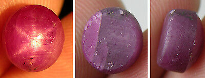 4.65ct  India 100% Natural Untreated Purplish Red Star Ruby Cabochon Gemstone