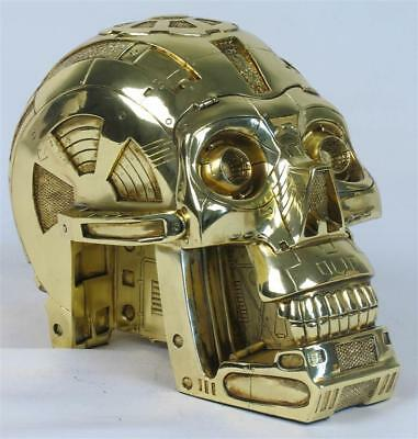 3CPO Robot Machine Solid Skull Statue/Ornament Poly Resin Gold Metal Plated