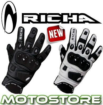 Richa Rock Black White Short Sports Leather Motorcycle Motorbike Summer Gloves
