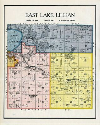 East Lake Lillian Township Kandiyohi County Minnesota Rare 1905 Map, Genealogy
