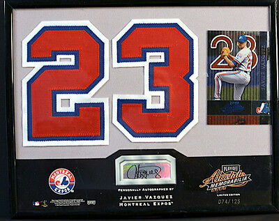 JAVIER VAZQUEZ Signed 2002 Playoff Absolute 74/125 Factory Framed Baseball Card
