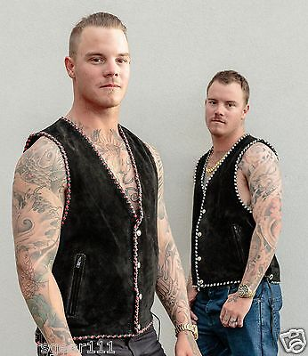 New Motorcycle Biker Club Suede Vest Outer edge braiding Black,White, Red,