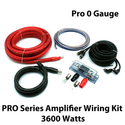 Pro 0 Gauge Complete Car Amp PRO Series Amplifier Wiring Kit 3600 Watts