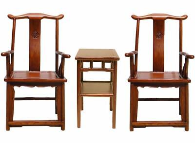 Chinese Set of 3 Elm Wood Yoki-Back Armchair Table vs609