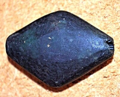 Ancient Serpentine Diamond Shaped Stone Bead Found In Nigeria, African Trade
