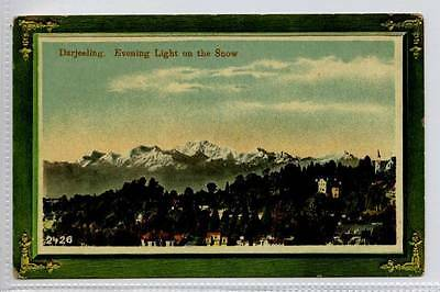 (Gg414-100) Evening Light on the Snow, Darjeeling, India c1910 Unused VG