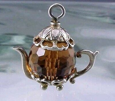 Ornate Vintage Sterling Silver Faceted Amber Crystal Teapot Charm