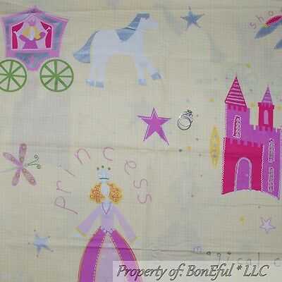 BonEful FABRIC FQ Cotton Yellow Pink Princess Castle Fairy Girl Baby Frog Crown