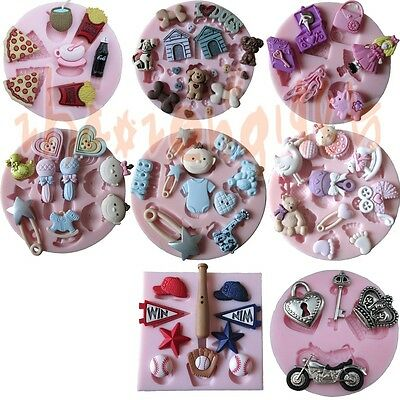 8 Multi-style Cute toys stuff Silicone Mould for Polymer Clay Candy Chocolat