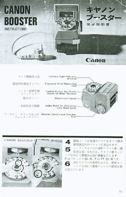 Canon Booster Meter Instructions for Canon FT, Pellix QL, FTb