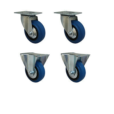 Set 100 mm Blue Wheels Elastik Rollen als Lenkrolle 2L+2B Transportrollen