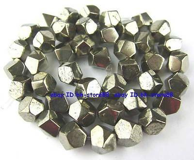 100% Natural 10mm Corner Cut Pyrite Loose Beads 15''