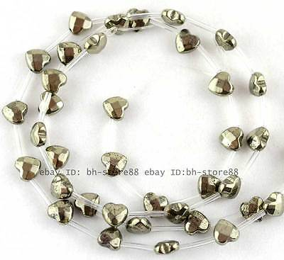 100% Natural 9mm Heart-shap Flat Faceted Pyrite Beads 16''