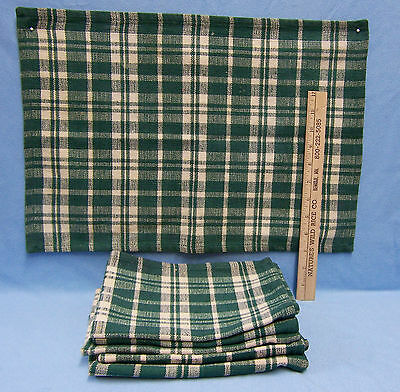 """Set of 6 Green Plaid Fabric Cloth Placemats 19"""" x 13"""""""