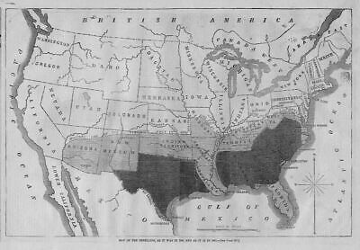 CIVIL WAR 1864 UNITED STATES MAP OF THE REBELLION, MILITARY LINE NORTH AND SOUTH