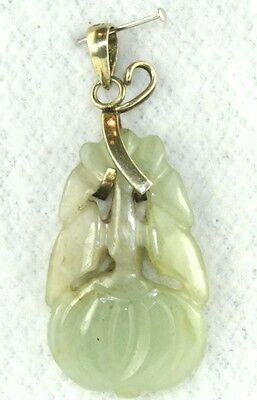 Vintage Antique 1920's Chinese Gold Over Silver Carved Jade Pendant