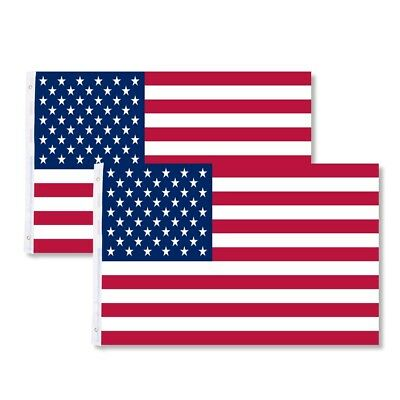 3' x 5' ft American Flag USA US Stripes Stars Brass Grommets 2Pcs Fit Flag Pole
