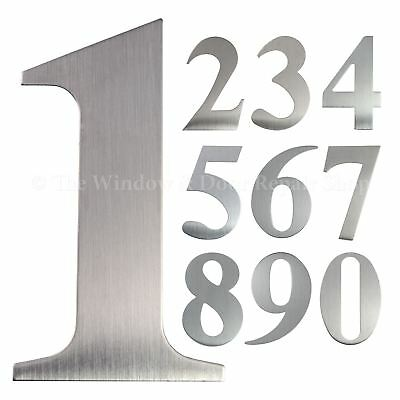 "3"" inch 76mm Self Adhesive Brushed Satin Stainless Steel Door House Numbers UAP"