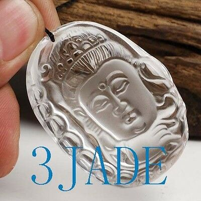 Natural Clear Rock Crystal Quartz Kwan Yin / Guanyin Amulet / Pendant