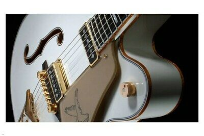 vintage ELECTRIC GUITAR poster 24X36 side angle CLEAN CURVES gold strings