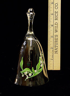 Avon Glass Crystal Lily of The Valley Flower Hand Dinner Bell Birthday Month May