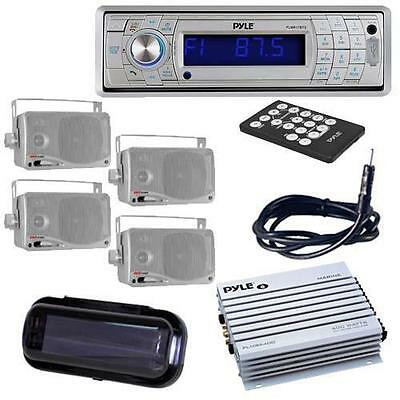 PLCD5MRBTS Boat CD SD USB Stereo/Bluetooth + 4 Box Speakers /Amp Cover + Antenna