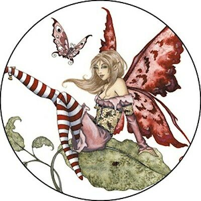 Amy Brown Flirty Fairy Faerie Pin Button Pink Faery NEW