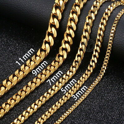 Gold Chain Necklaces for Mens 3/5/7/9/11mm Stainless Steel Curb Link Bracelet