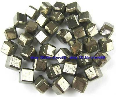 100% Natural 8x8mm Square Side Scrap Pyrite Beads 15''