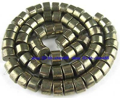 100% Natural 6x10mm Wheel Pyrite Beads 15''