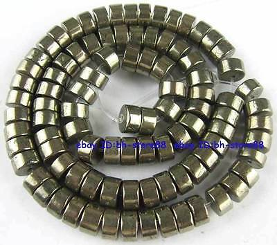 100% Natural 6x(3-5)mm Wheel Pyrite Beads 15''