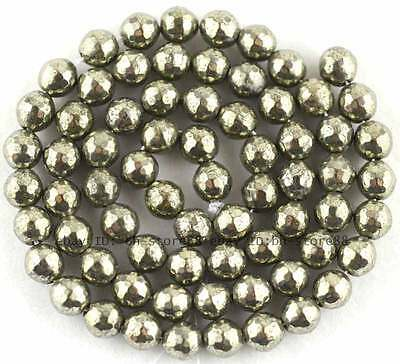 100% Natural 6mm Round 128 Faceted Pyrite Beads 15''