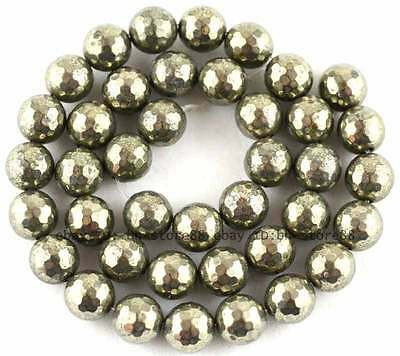 100% Natural 10mm Round 128 Faceted Pyrite Beads 15''